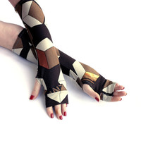 Geometric Brown Fingerless Gloves -  Arm Warmers , Gloves , Hand Warmers ,  Urban clothing , abstract pattern