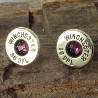 Bullet Earrings February Birthstone  Amethyst by ShellsNStuff