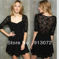 Lace Cocktail Dress - Black