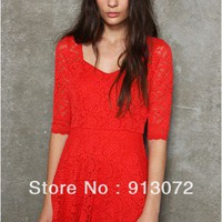 Lace Cocktail Dress - Red