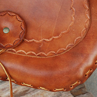 Vintage 1970s Hand-tooled Leather Shoulder Bag
