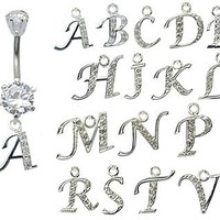 dangle belly button rings ? GlitZ JewelZ - laser cut CZ crystals - surgical steel 316L - bar length