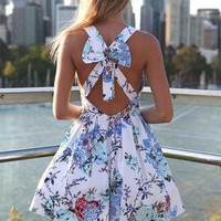 Floral Print Dress with Pleated Skirt &amp; Cutout Bow Back