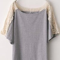 Cut-out Lace Shoulder Grey Short Sleeve T-shirt