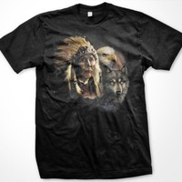 Native American Indian Chief Mens T-shirt, Indian Chief with Bald Eagle and Wolf Tee Shirt