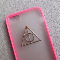 Iphone 5 Case,Harry Potter Deathly Hallows Iphone 5 Case, iPhone Case 5 pink color frosted translucent case