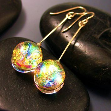 New Listings Sale Dichroic Glass Earrings Translucent Warm Cha Cha Tangerine and 14K GF Wire Wrapped