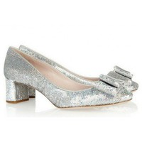 Miu Miu Sequined leather pumps