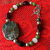 Kashgar Garnet Bracelet with Garnet and Jade Beads, Toggle Clasp