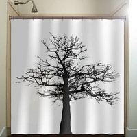 gray black tree shower curtain bathroom decor fabric kids bath white black custom color curtains