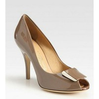 Salvatore Ferragamo Patent Leather Peep Toe Pumps