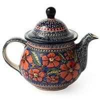 One Kings Lane - The Coffee Shop - Extra Large Teapot, Greek Floral
