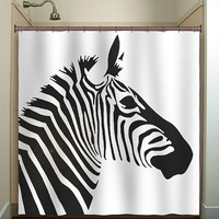 zebra shower curtain bathroom decor fabric kids bath white black custom color curtains