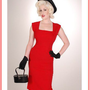 Vintage Style Clothing-Bettie Page Ella Dress-50&#x27;s Style Red Pencil Dress