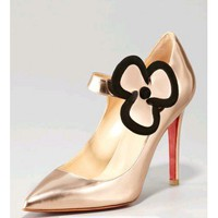 Christian Louboutin Pensee Mary Jane Flower Pump, Nude
