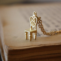 Fairy Tale Throne Necklace  Gold by spacepearls on Etsy