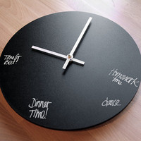 Chalkboard or Dry Erase Circular 10 inch Wall Clock
