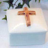 Ceramic Cross Rosary Box Brown by GrapeVineCeramicsGft on Etsy