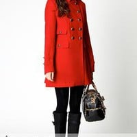Maria PVL Wool Look Trim Cuff Military 2 Pocket Frock Coat at boohoo.com