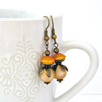 Peach and orange vintage style brass by TyssHandmadeJewelry