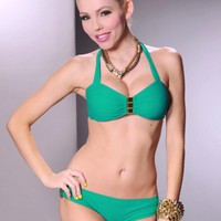 Sage 2 PC Halter Gold Bar Pucker Back Bikini Swimsuit