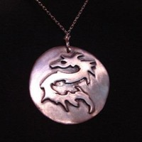 dragon sterling silver medallion pendant by NiciLaskin on Etsy