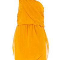 Mustard one shoulder dress - Clothing - Dorothy Perkins