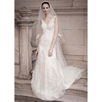 A-line Gown with Illusion Straps and Beaded Lace - Star Bridal Apparel