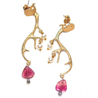 Pink Tourmaline Slice Earrings Gold Deer Antler Freshwater Pearls Whale Post Handcrafted Gemstone Jewelry