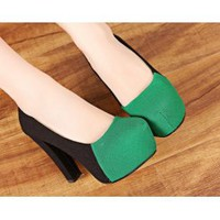 Wholesale Girls pumps the 2013 new style colors stitching shoes XD-GH812-9A green - Lovely Fashion