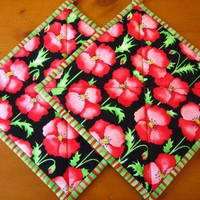 Pot Holders Bright Floral on Handmade Artists' Shop