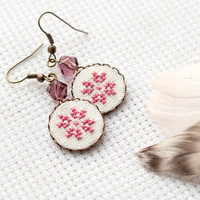 Tribal earrings Ethnic cross stitch geometrical flower in dusty pink - gift for her