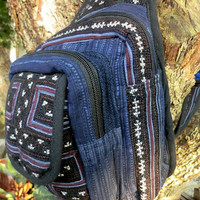 One Shoulder Hmong Indigo Batik and Embroidery Tribal Backpack Man Bag