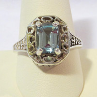 Fantastic sterling silver 1.74 Ct Genuine Emerald Cut Blue Topaz Filigree ring size 9.75