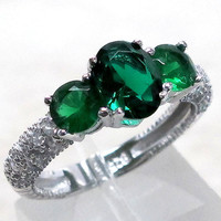 Stylish 2.5 Ct Three Stones Emerald 925 sterling silver Micro Pave ring size 5