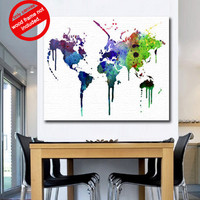 Canvas Print - Watercolor world map for housewares - 55 x 44 in