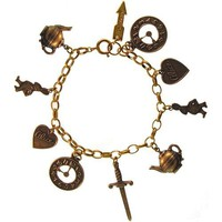 Alice In Wonderland Charm Bracelet In Antique Brass