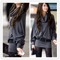 Grey Female Long Sleeve Casual T-Shirt Tops Mini Dress Blouse Ruff Neckline