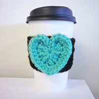 Crochet Cup Cozy The Valentines Heart Coffee Cup Sleeve in Tiffany and Black
