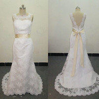 Vintage Lace Wedding Dress Bridal Gown Deep V Back Open Back Scalloped Edge Champagne Satin Sash A LINE Sweep Train