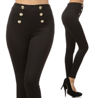Black High Waist Sailor Pants Gold Buttons from Milly Kate