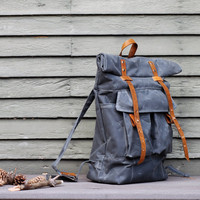 The Camper Satchel in Gray Waxed Canvas by sketchbook on Etsy