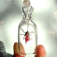 Little Pink Fairy Valentine Gift Miniature under glass by HoKiou