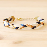 Leather &amp; Brass Braided Bracelet in Navy and Coral by sonofasailor