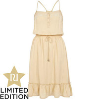 Beige floral embroidered frill hem cami dress