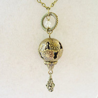Mini Bronze Hot Air Balloon Necklace, Steampunk