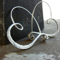 $49.00 sterling silver heart hoops hammered  endless style by 2TrickPony