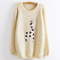 Beige Super Adorable Cartoon Giraffe Loose Pullover Sweater from Showmall