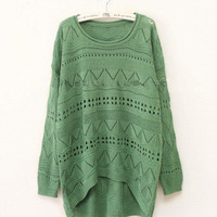 Dark Green Curved Hum Knit Holey Texture Long Sweater from Showmall