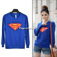 Women Korea Cute Superman Logo Print Round Neck Long Sleeves T-shirt Top VE4A